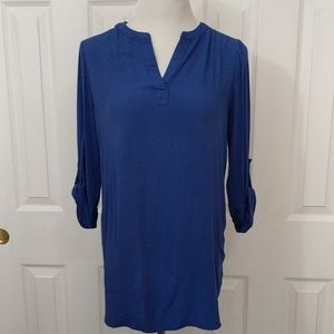 Anthro blue blouse with rolled-up sleeves size m